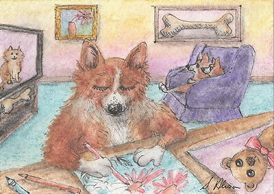 Welsh corgi dog orig ACEO mini painting by Susan Alison ATC colouring book pages