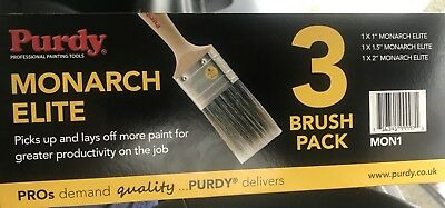 """Purdy Monarch Elite Synthetic Paint Brush Set 1x1"""", 1.5"""" and 2"""""""