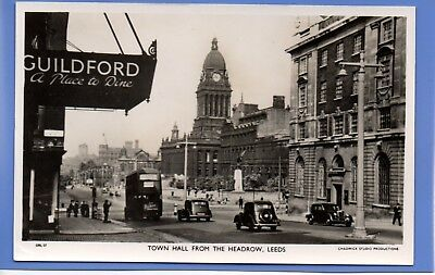 Old Vintage Rp Postcard Town Hall From The Headrow Leeds Yorkshire Bus Cars