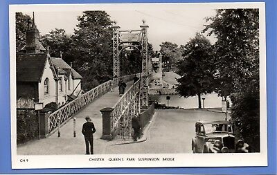 Old Vintage Rp Postcard Chester Queen's Park Suspension Bridge Cheshire