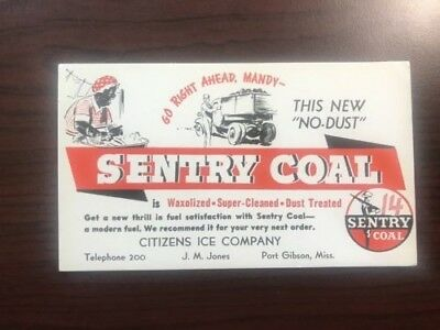 Vintage Port Gibson Mississippi Sentry Coal Ink Blotter No-Dust Coal
