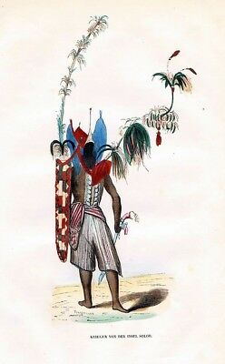 1845 Solor Sunda Islands Trachten Holzstich costumes antique print