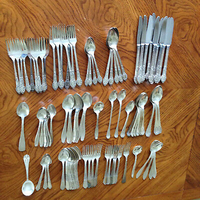 Silver Plate Flatware Mixed Lot Rogers Bros Community Plate 91 Pieces Vintage