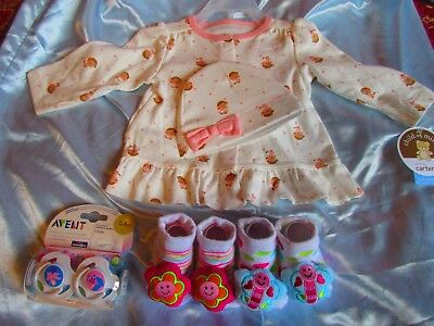 Infant Top And Hat With Booties & Two Pacifiers