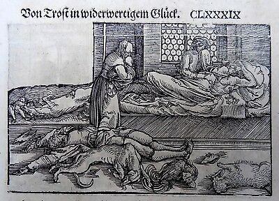1532 Master of Petrach - Hans Weiditz 2 woodcuts - MEDIEVAL PLAGUE BLACK DEATH
