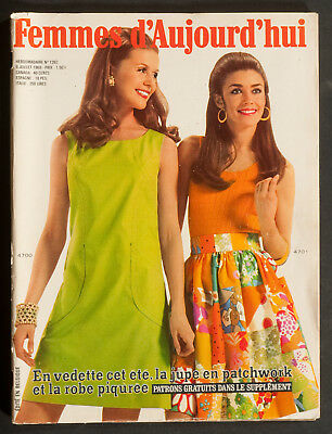 'femmes D'auourd'hui' French Vintage Magazine Pattern Holiday Issue 9 July 1969