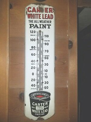 """Vintage Porcelain Carter White Lead Paint Products Thermometer 27"""" Advertising"""