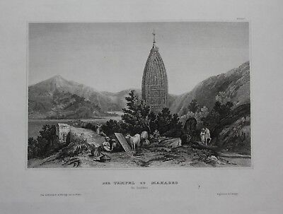 1840 - Tempel Mahadeo Indien India Stahlstich