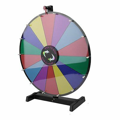 """24"""" Colour Round Tabletop Prize Wheel Dry Erase Fortune Spinning Win Game Party"""
