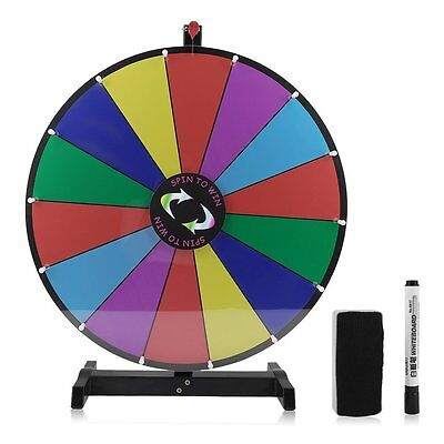 """24"""" 14 Grid Tabletop Colour Prize Dry Erase Fortune Spin Win Game Wheel Stand UK"""