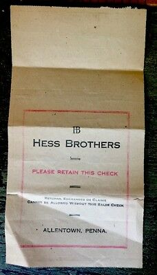 Vintage Hess's Hess Brothers  Receipt Allentown PA Iconic Department Store