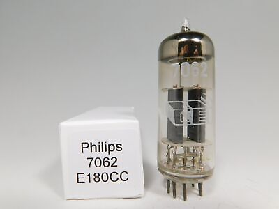 Philips (CEI) 7062 E180CC Vintage 1962 Tube Gray Plates Round Getter (Test 111%)