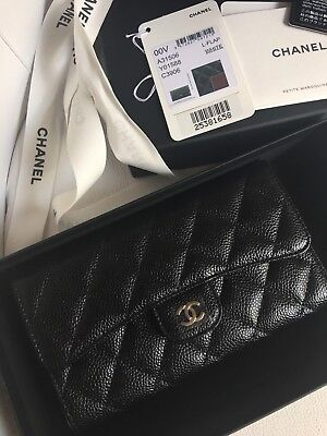 2b30ae993131 Chanel Black/Burgundy L-Flap Wallet Caviar Quilted Leather Cc Logo, New,