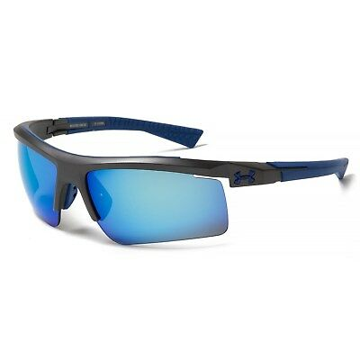 New Under Armour Core 2.0 Multiflection Sunglasses Satin Carbon/Blue MSRP$115