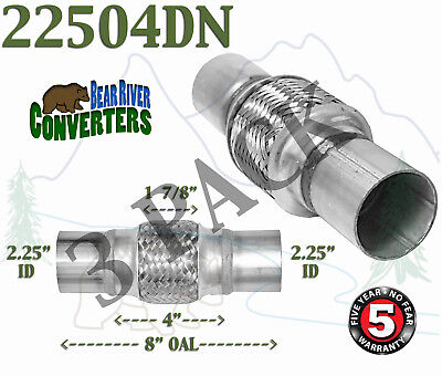 """22506DN 2 1//4/"""" Exhaust Flex Pipe Stainless Double Braid 2.25/"""" x 6/"""" 10/"""" Long"""