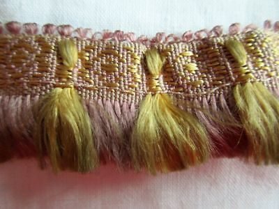 ANTIQUE LENGTH OF WOVEN SILK/COTTON FRINGED TRIM FROM VICTORIAN GOWN~3 1/3 yds