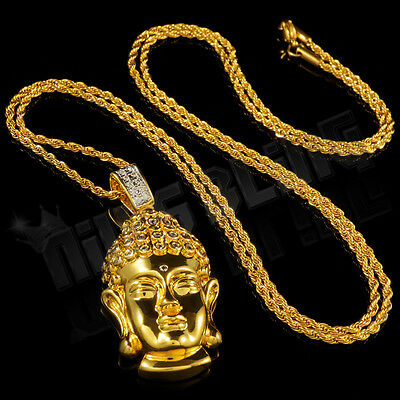 520a75cad6f70 18K GOLD PLATED Iced Out CZ BUDDHA Pendant Stainless Steel Rope Chain  Necklace