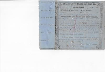 RARE Chicago & Rock Island RR Co. stock 1851 signed James Grant, 1st pres.