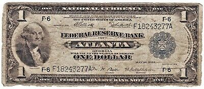 Tougher 1918 One Dollar Large US Federal Reserve Note From ATLANTA, GEORGIA