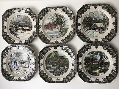 "Johnson Brothers Friendly Village Square 8"" Salad Plates SET OF 6 NEW"