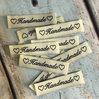 WOVEN LABELS x10, Handmade love hearts, Clothing Label, DIY Label, Post from AU