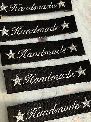 WOVEN LABELS x10, Handmade Star Label, Clothing Label, DIY Label, Post from AU