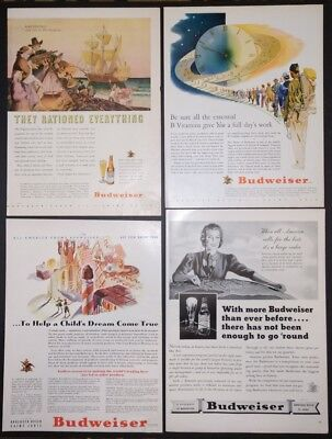 Lot of 4 World War II 1943 Budweiser Beer and Vitamin Ads WWII