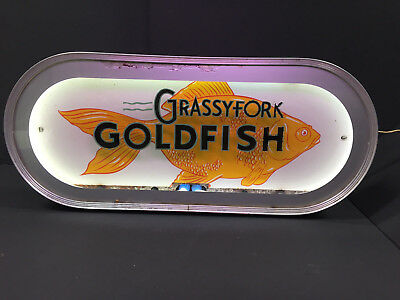 Vintage Aquarium Grassyfork Goldfish Neon Advertising Sign Only Seen 2 n 40Years