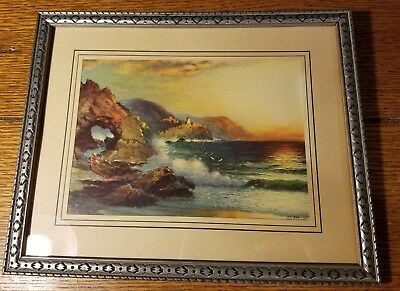ANTIQUE 1905 Color LITHO Lithograph Ocean Lighthouse Water Crashing Rocks Sunset
