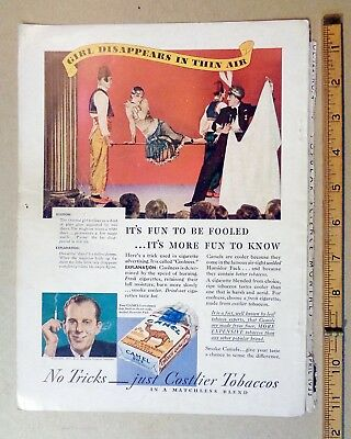 1933 CAMEL cigarettes print ad BACK COVER color MAGIC Girl Disappears TOBACCO
