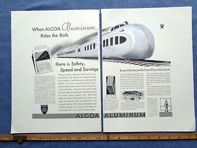1933 ALCOA ALUMINUM 2- page print ad SILVER INK space age train industrial METAL