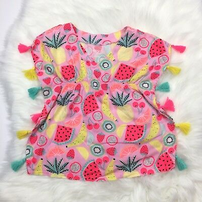 Cat & Jack Toddler Girl Swim Cover Up Size 2T Tassels Watermelon Fruit Print