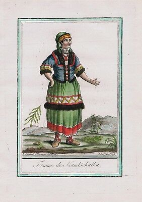1780 - Kamchatka Peninsula Russia Siberia people costume engraving antique 67629