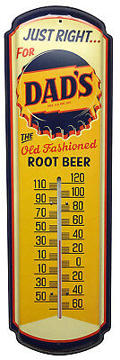 """DAD'S Root Beer Soda Thermometer Vintage Old Style Bottle Cap Sign 27"""" x 8 1/4"""""""