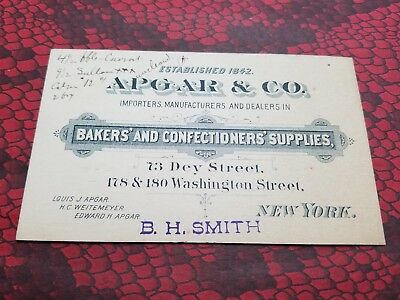 APGAR & CO Bakers and Confectioners Supplies NEW YORK Victorian Trade Card 1890s