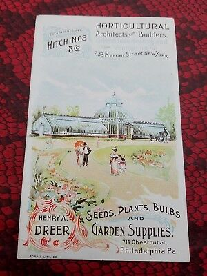 HITCHINGS & CO Horticultural NY / HENRY A. DREER Garden Supplies PA Trade Card
