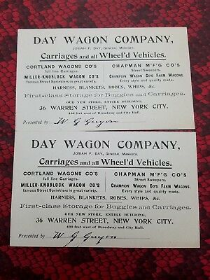 DAY WAGON COMPANY Victorian Trade Card Carriages & Buggies NEW YORK 1890s