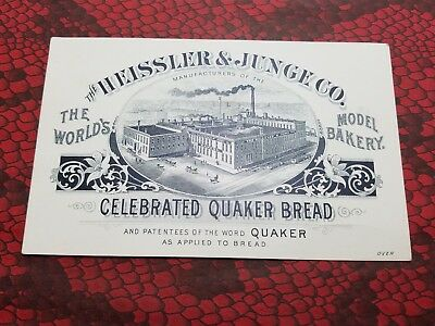 HEISSLER & JUNGE CO Victorian Trade Card BAKERY Bread / MALT EXTRACT Chicago ILL