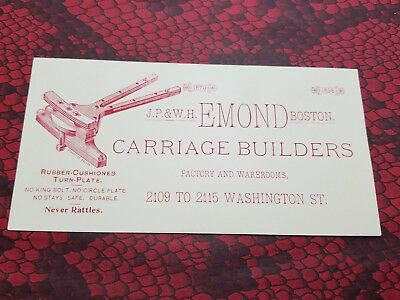 J.P. & W.H. EMOND CARRIAGE BUILDERS 1895 Victorian Trade Card BOSTON MA