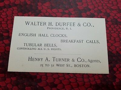 WALTER H. DURFEE & CO Victorian Trade Card / Business PROVIDENCE RI Clocks Bells