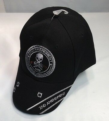 2nd Amendment Ball Cap Motorcycle Biker Hat Army USMC Rifle Second BULLET HOLES