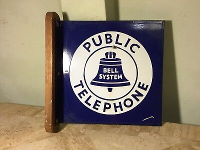 "Antique Public Bell System Telephone Porcelain Sign ( double sided ) 11""x11"""