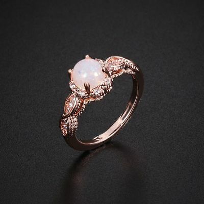 Promise White Cubic Zirconia Rose Gold Filled Fire Opal Ring Round Cut