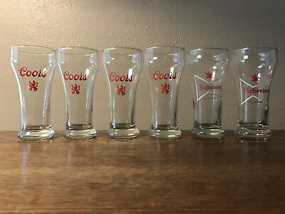 Set of 6 Vintage 1970s Beer Glasses 4 Coors with Lion Logo & 2 Budweiser Bow tie