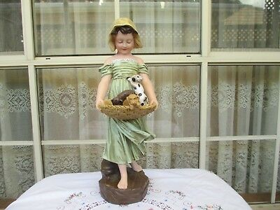 Beautiful Vintage Sweet Little Girl Holding A Basket Of Puppies Statue Estate