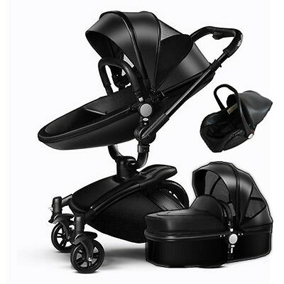 Baby Stroller 3 in 1 travel system Bassinet folding Combo Pushchair&car seat PU