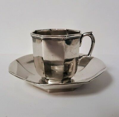 Rare Cup and Saucer William Forbes Ball Tompkins & Black Coin Silver 1840