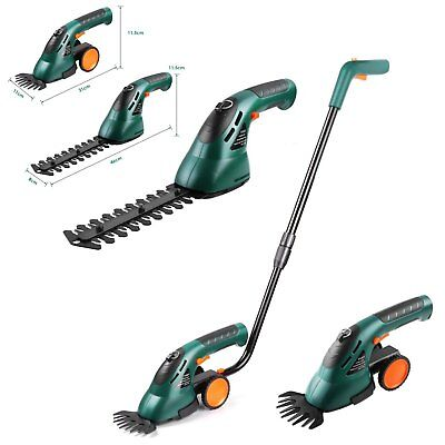 2 In 1 Cordless Hedge Trimmer & Grass Shear Garden Cutter Shrub Tool 7.2V Li Ion