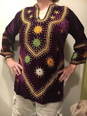 "1960's Indian Hand Embroidered ""Velvet"" (Rayon) Purple Hippie Boho Antique Large"