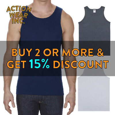 Aaa Alstyle 1307 Mens Plain Tank Top Casual Sleeveless Active Muscle Tee Gym